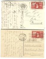 Yv 341 + 342 Discours Sur / De La Méthode Sur 2 Cpa Ayant Voyagé Au Danemark - Francia