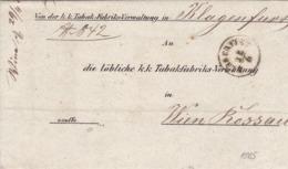 BRIEF KLAGENFURT    --   NACH WIEN ROSSAU   --   VERZEICHNISS  --  1865  --  BIG FORMAT - Österreich