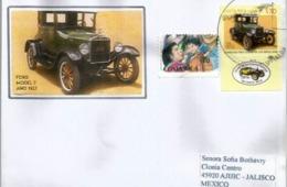Voiture Ford Model T, Année 1927, Sur Lettre Costa-Rica, Adressée Au Mexique - Autos