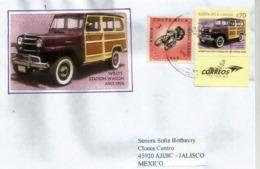 Voiture Willys Jeep Station Wagon, Année 1956, Sur Lettre Costa-Rica, Adressée Au Mexique - Autos