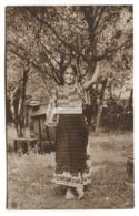 Peasant Girl, Countryside, Trees - Old Romania Real Photo Postcard - Roemenië