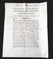 1795 DOUANES DE LA REPUBLIQUE COMMISSION NOMINATION CONTROLEUR BRIGADIER NOEL CERNEUX BESANCON 25 DOUBS DOUANE - Documents Historiques