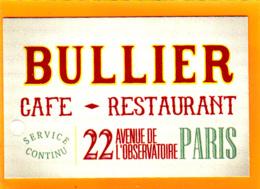 Café-Restaurant BULLIER Montparnasse / Observatoire / Paris 14 - Cartes De Visite