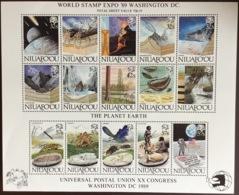 Tonga Niuafo'ou 1989 Washington Expo UPU Prehistoric Animals Birds Gold Specimen Sheetlet MNH - Tonga (1970-...)