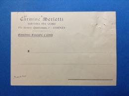1943 CARTOLINA PUBBLICITARIA CARMINE MERLETTI SARTORIA PER UOMO FORNITURE FASCISTE E CIVILI COSENZA - Pubblicitari