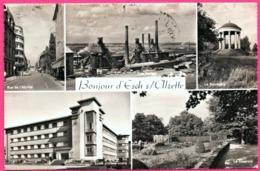 Cp Dentelée - Esch Sur Alzette - Multivues - Usine - Ecole - Les Forges - Animée - Edit. PAUL KRAUS - 1959 - Esch-Alzette
