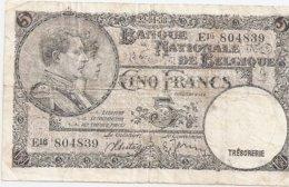 5 Fr - 22.04.88 - [ 2] 1831-... : Regno Del Belgio