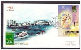 Indonesia 2000 FDC Stamp Exhibition Olymphilex Sydney Gymnastics Bridge Boat S/S - Indonesia