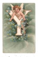 Ange; Ancien Angelot, Carte Gaufrée - Alphabet  Lettre Y  ; Cpa. (D.2911) - Angels