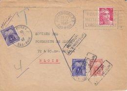 Env Affr Y&T 716 Obl OMEC STRASBOURG R.P. Du 19.1.1947 Adressée à Blois Taxée 4 F Retournée à Strasbourg Et Retaxée - Poststempel (Briefe)