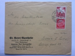 GERMANY 1936 Cover Leipzig To Borna - `St. Betri Apotheke` - Allemagne