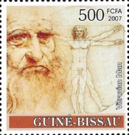 Guinea Bissau Leonardo Da Vinci Paintings Vitruvian Man 1v Stamp MNH Michel:3635 - Persönlichkeiten