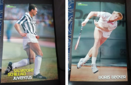 Poster Salvatore Totò Schillaci - Boris Becker GUERIN SPORTIVO 1990 - Calcio