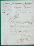 75 Paris 02 Chantraine ( Aisne ) Cartonnerie De Grenelle Papeterie Pate, Paille, Bois, Cuir Ozouf Et Leprince 23 02 1908 - Printing & Stationeries