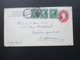 USA 1914 GA Mit 3 ZuF 1 Cent Waag. 3er Streifen! New York - Schaffhausen Social Philately Dr. Oskar Bolza Mathematiker - Briefe U. Dokumente