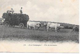CPA - AGRICULTURE AGRICULTEUR - Travaux Des Champs, Rentrée De La Moisson, Attelage De Boeufs - Farmers