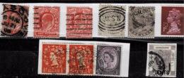 Lot De Timbres Perforés Différents De Grande Bretagne,1 D'Inde Coloniale Et 1 De  Hong Kong - Grande-Bretagne