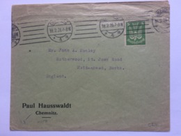 GERMANY 1926 Cover Chemnitz To England Tied With 1924 Air - Deutschland