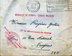 Militaria -  Lettre Du Colonel Richard, Caserne Du Colombier à Rennes  à L'Aspirant Fougères Gustave - Avancement 1951 - Old Paper