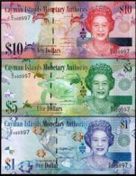 CAYMAN ISLANDS SET 3 UNC 1 5 10 DOLLARS 2014-2018 NEW SIGN LOW SERIAL MATCHING - Isole Caiman