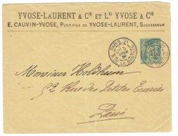 DAGUIN Jumelée PARIS 21  1886 Mois à L'envers Sur Bloc Gauche Enveloppe Timbrée Sur Commande    D3 - Mechanical Postmarks (Other)