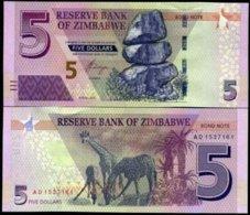 ZIMBABWE 5 DOLLARS 2016 P NEW BOND DESIGN UNC - Simbabwe
