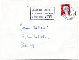 PARIS 118 / R. D' AMSTERDAM (8e) 1962 = FLAMME SECAP ' SECURITE SOCIALE / ALLOCATIONS FAMILIALES / VOTEZ  13 DECEMBRE  ' - Marcophilie (Lettres)