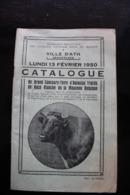 """Ath, 1950, """"Catalogue Du Grand Concours-foire D'animaux Tracés De Race Blanche De La Moyenne Belgique"""" - Libri, Riviste, Fumetti"""