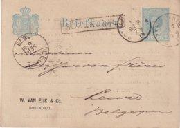 """PAYS-BAS : ENTIER POSTAL . A 5 CtS BLEU . REPIQUAGE """" VAN EIJK """" . A ROSENDAAL . AVEC GRIFFE POUR LA BELGIQUE . 1879 . - Ganzsachen"""