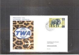 Premier Vol Nairobi-Genève TWA - 1967 - Eléphant (à Voir) - Kenya (1963-...)