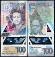 EAST CARIBBEAN 100 DOLLARS 2019 P NEW DESIGN POLYMER QE II UNC - East Carribeans