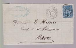 TYPE SAGE SUR Lettre De  1980 De  Pontrieux  Vers Havre - 1877-1920: Periodo Semi Moderno