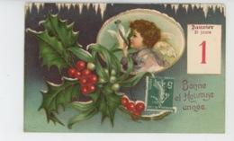 """ENFANTS - ANGES - Jolie Carte Fantaisie Gaufrée Angelot Et Houx De """"Bonne Et Heureuse Année"""" (embossed Postcard) - New Year"""