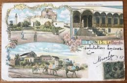 Tunisie, CPA Voyagée - Tunis. Le Bardo - Carte Illustrée - (B1063) - Tunisie