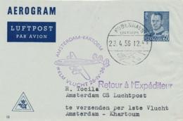 Nederland / Sudan - 1956 - Deense Post Van Kobenhavn Op First KLM Flight Amsterdam - Khartoum - Poste Aérienne