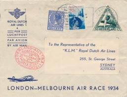 Nederland / Australia - 1934 - 70 Cent Fotomontage Op Cover Met London-Melbourne Air Race Van Den Haag Naar Sydney - Luftpost