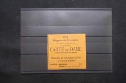 BELGIQUE - Vieux Papiers - Carte Pour Les Régates De Bruxelles En 1912 Valable Pour Une Dame  - L 43150 - Eintrittskarten