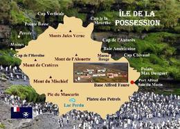 Possession Island Map Ile De La Possession TAAF New Postcard Landkarte AK - TAAF : Territorios Australes Franceses