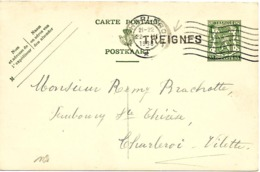 SH 0115. EP 35c CHARLEROI 22.III.1938 + GRIFFE TREIGNES V. Charleroi-Vilette. TB - Marcofilia