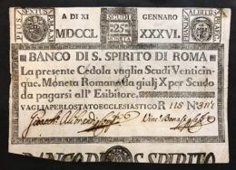 Banco Di Santo Spirito Di Roma 25 Scudi 11 01 1786 Fori Mb Lotto.116 - [ 9] Collezioni