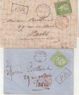 """SUISSE : N° 30 . 2 LETTRES . DE """" FLEURIER """" . POUR PARIS . AB . 1861/62 . - Lettres & Documents"""