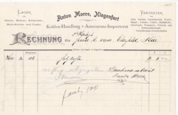 FACTURA, RECHNUNG, QUITTUNG  --  KLAGENFURT--  ANTON MORRE  --  1901 - Österreich