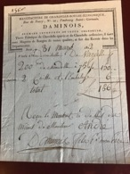 DAMINOIS Paris 1812 Facture Manufacture De Chandelle-bougie économique - France