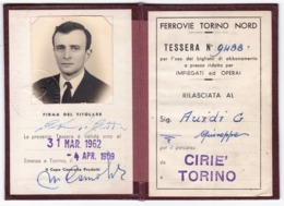 TESSERA - ABBONAMENTO -FERROVIE TORINO NORD - CIRIE' TORINO - ORIGINALE - Abonnements Hebdomadaires & Mensuels