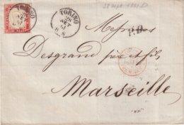 """SARDAIGNE : N° 13 . """" TURIN """" . POUR MARSEILLE . 1861 . LST . - Sardegna"""
