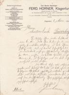FACTURA, RECHNUNG   --  KLAGENFURT --  FERD. HORNER   ( CARL BUMBS NACHFOLGER )  --  1911 - Österreich