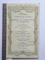 Menu - (16) Menu Commune De Chalais - Banquet Des Combattants Du 13 Nov 1927 - - Menú