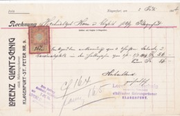 FACTURA, RECHNUNG   --  KLAGENFURT --   LORENZ GLANTSCHNIG  --  1904  --  MIT 2 HELLER TAX STAMP  --  STEMPELMARKE - Österreich