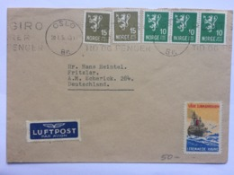 NORWAY 1951 Cover Oslo To Germany With Vare Sjomannshjem Vignette Cinderella Front And Rear - Noruega