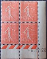 Semeuse 50 C. Rouge 199 En Bloc De 4 Coin Daté - 1903-60 Semeuse Lignée